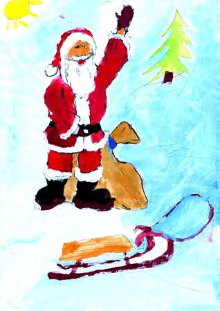 Santa in the snow - painted by a disabled child photo