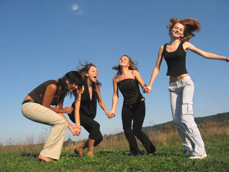 Group of girls having fun Stock Photo