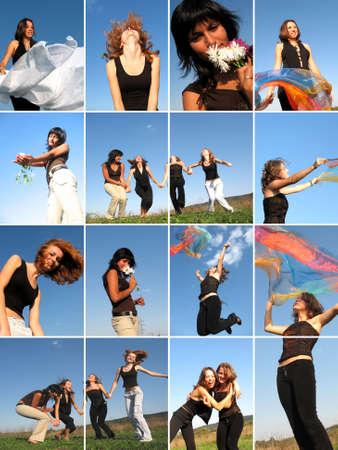 collage caras: Collage de j�venes atractivas chicas que se divierten al aire libre