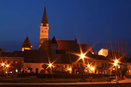 Night old european city - Medias, Transylvania Stock Photo