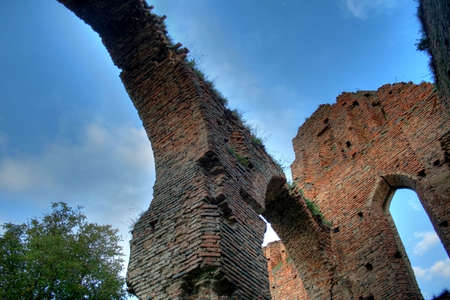 Old architectural arch in a ruin with deep sky in background - HDR image Stock Photo - 1789370