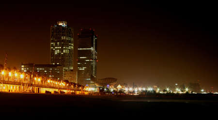 Panorama of Barcelona Beach in the night Stock Photo
