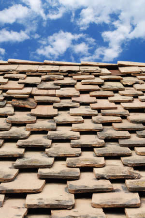 Old terracotta tile roof of a farm house over beautyfull sky Stock Photo - 5175639