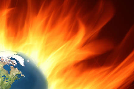 Dramatic background of burning earth with large flames Stock Photo - 6488579