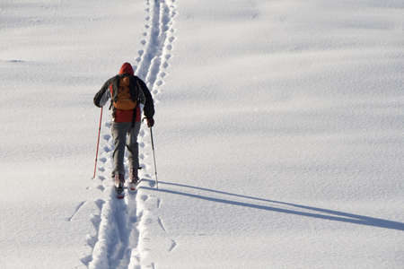 ski walking: Man walking on ski in the snow Stock Photo