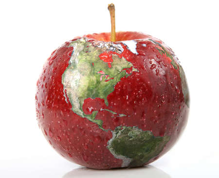 sustainability: Red Apple with earth on it isolated over white Stock Photo