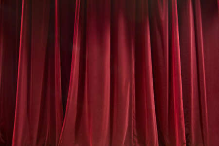 Closed red curtain - background abstract texture