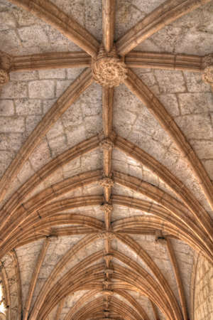 ribbed: Gothic arches in Jeronimos monastery Lisbon Portugal Editorial