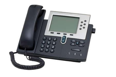 telephone: Tel�fono de VoIP de negocios aislado sobre fondo blanco Foto de archivo