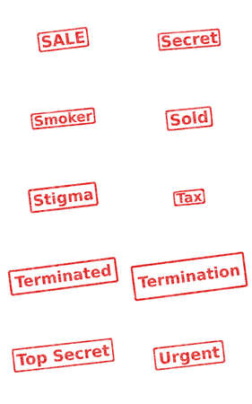 terminated: Div. stamps, isolated over white background