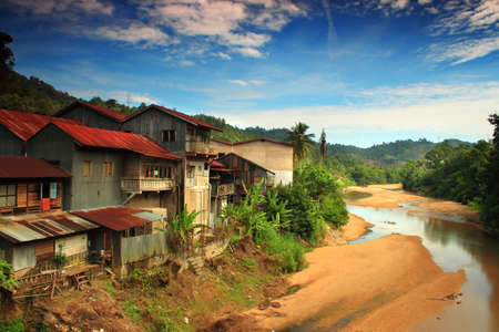 Traditional buildings beside river
