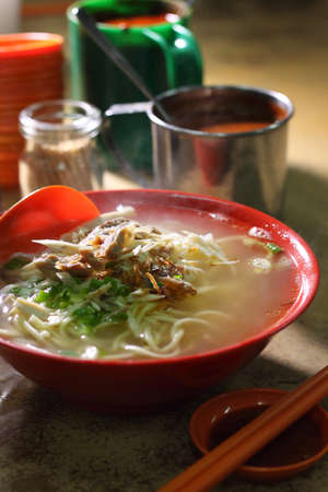 bowl of chinese rice noodle soup normally consumed for breakfast