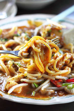 malaysian food: Traditional Malaysian Spicy Cook Noodles Stock Photo