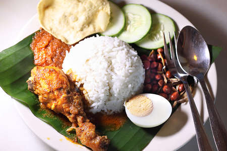 Nasi Lemak with dried anchovies sambal (Sambal Ikan Bilis)