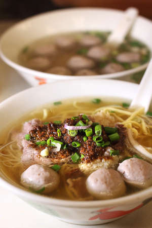 Soup with noodles and meat ball Stock Photo