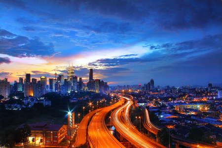 klcc: Kuala Lumpur City skyline at sunset