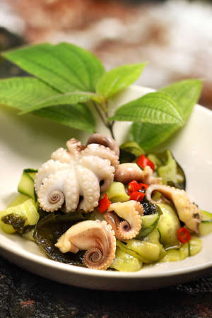 Octopus salad appetizer Stock Photo