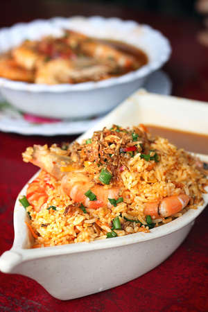 Spicy fried rice with shrimps Stock Photo