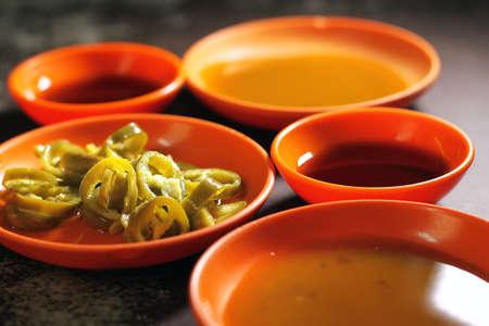 Green Chili, Plum sauce & black bean sauce for dipping