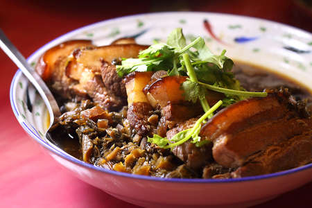 stewed: Stewed meat with salted-and-sun-dried vegetables