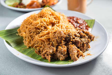 Delicious Fried Mee Hoon with Rendang Beef, Asian Food