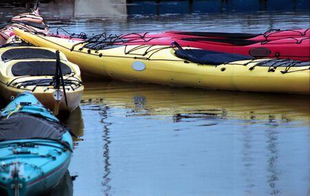 Empty kayak floating