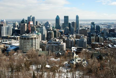 View of Montreal form the Mont-Royal in a sunny day photo