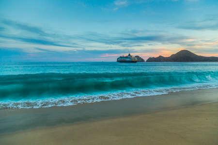 Sandy Beach Vue de Waves à la plage au Mexique, Cabo San Lucas