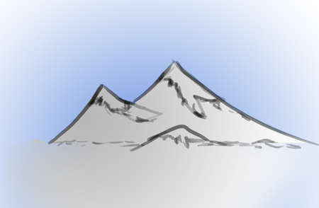 sketch of mountain tops