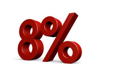 render: eight percent, 3d render Stock Photo