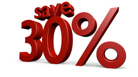 thirty: save thirty percent, 3d render