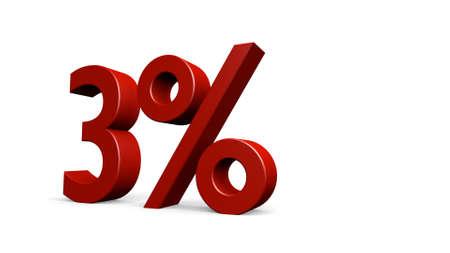 render: three percent, 3d render Stock Photo