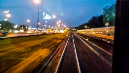 railway tracks: Driving on Railway Tracks Point of view at night Stock Photo
