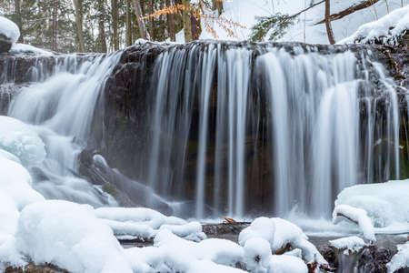 weavers: flowing waterfalls in winter, owen sound ontario, weavers creek