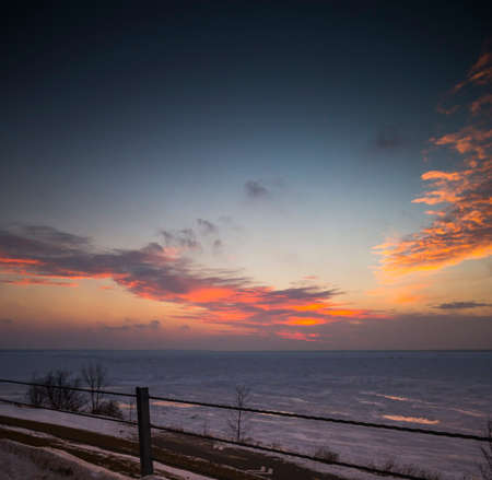 lake shore drive: Wintery Sunset on Lake Huron Shore