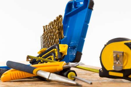 engineered: a Collection of Contractors Tools on a bright background Stock Photo