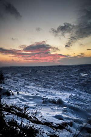 sub zero: Wintery Sunset on Lake Huron Shore