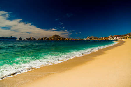 spring tide: View of Waves at Sandy Beach of Cabo San Lucas in Mexico