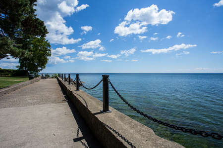 scenic view from waters edge Stock Photo