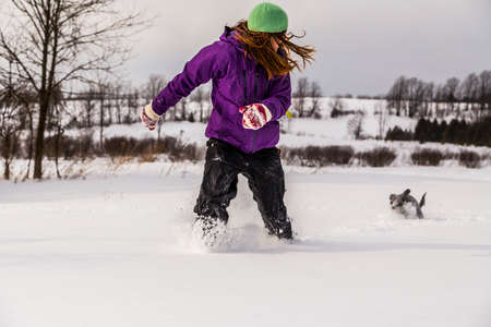 deep freeze: Walking a Dog in Snow Stock Photo