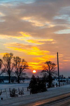 sub zero: Driving an Icy Winter Roadway Stock Photo