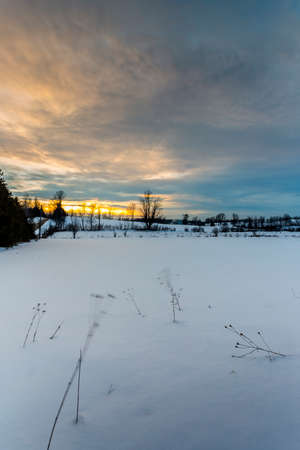 scenic winter sunset in the countryside