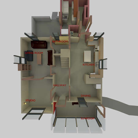 overhead: overhead view of a floorplan in a 3D Illustration