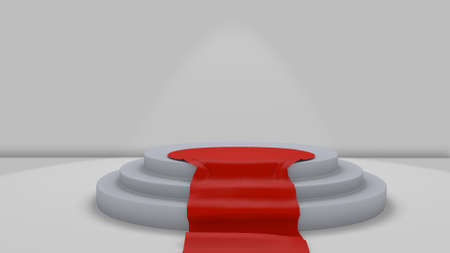 three objects: red carpet to podium in a 3D Illustration
