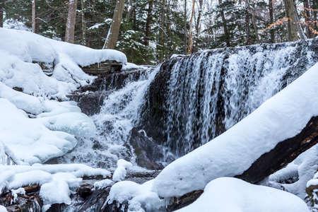 weavers: flowing waterfalls in winter, owen sound ontario, weavers creek