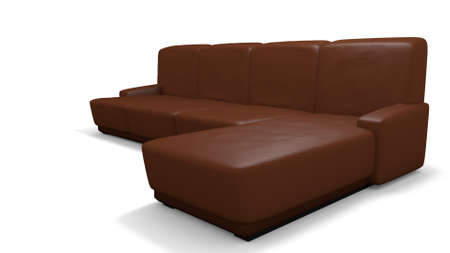 leather couch: leather couch in a 3d illustration