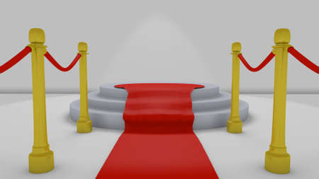 red carpet to podium in a 3D Illustration