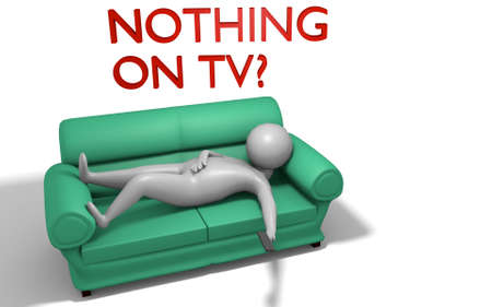 cartoon character sitting on a couch in a 3D Illustration