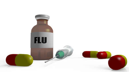 flu vaccine: medical items in a 3D Illustration Stock Photo