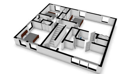 floorplan: home floorplan stylized in a 3D Illustration Stock Photo